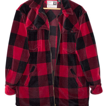 RALPH LAUREN velvety soft flannel shirt - red and black lumberjack - buffalo plaid - velour - velvet - microfiber - zipper front - medium