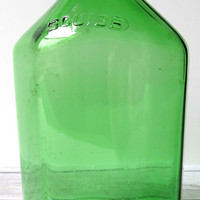 VINTAGE - Squibb Mineral Oil Glass Medicine Bottle - Dark Green - Collectibles