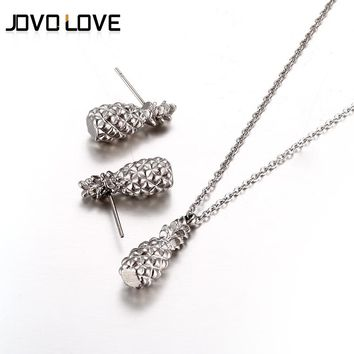 JOVO Decliated Fruit Pineapple Necklace & Earrings Jewelry Set for Women Fashion Silver Color Pineapple Necklace Fruit Earrings