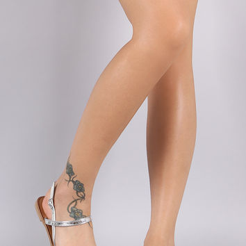 Qupid Metallic Gladiator Flat Sandal