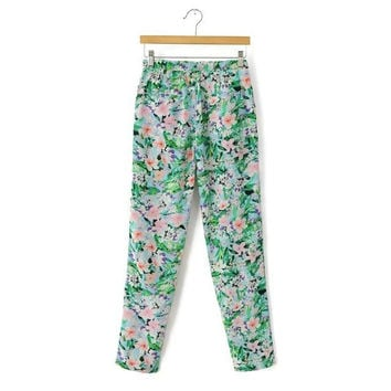 Summer Women's Fashion Stylish Floral Print Casual Pants [4919986052]