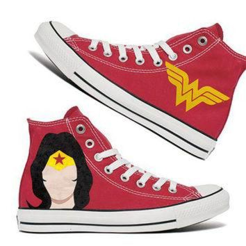 ICIKHD9 Wonder Women Custom Converse / Painted Shoes