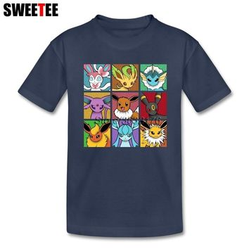 Pop Eeveelutions  Go tshirts  kids Short Sleeve 4T-8T Crew Neck T-Shirt children Shirt Top Clothing For Boys GirlsKawaii Pokemon go  AT_89_9