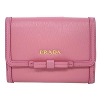 Prada Vitello Move Leather Geranio Pink Coin Purse Bi-fold Bow Wallet 1MH523