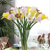 10pcs Real Touch Lily Calla PVC Artificial Flower Bouquets Home Wedding Bridal Decor Decorative Flowers & Wreaths 10 Colors