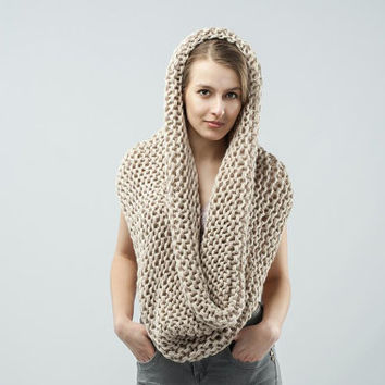 Knitted Cowl Big Wrap Infinity Scarf / Beige