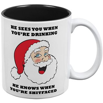 Christmas Santa He Sees You When You're Drinking All Over Coffee Mug