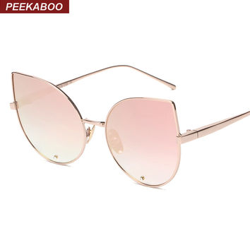 New fashion sexy retro luxury rhinestone cat eye sunglasses women mirror brand metal frame women shades cat eye pink gold UV400
