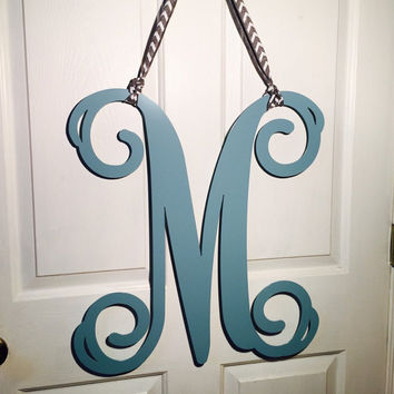 Initial door wreath w/ ribbon - 40+ color choices, Front Door Wreaths, Monogram Door Hanger, Front door letters,monogrammed gifts,Custom