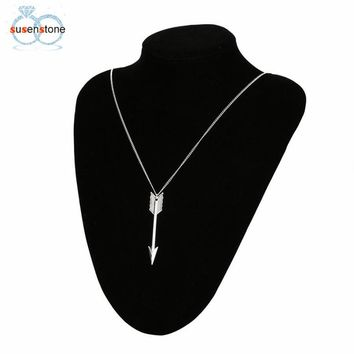 Retro Arrow Head Pendant Long Chain Necklace
