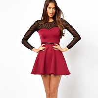 Red Mesh Long Sleeve Flounce Dress With Belt