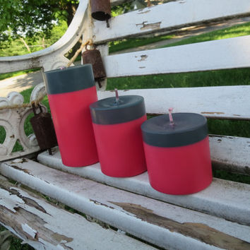 Fuchsia and charcoal grey soy candles, Shocking pink and black soy pillar candles, eco-friendly industrial style, scented pillar candles