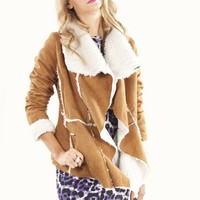Faux Shearling Jacket In Tan With White Trim | MessesOfDresses.com