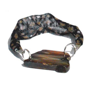 Fabric friendship bracelet with brown druzy agate - One of a kind textile jewel from Bfriend collection