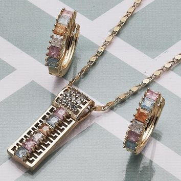 Gold Layered Women Greek Key Necklace and Earring, with Multicolor Cubic Zirconia, by Folks Jewelry