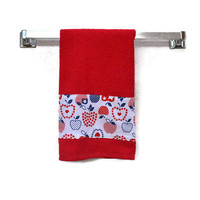 Patriotic Apple Towel, Apple Towel, Patriotic Towel, Hand Towel,  Red, White, Blue Towel, Tea Towel, Dish Towel, Kitchen Dish Towel