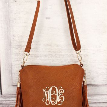 MONOGRAMMED LIGHT BROWN FAUX LEATHER DOUBLE TASSEL ZIP CROSSBODY BAG