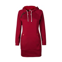 Wind Red Full Sleeves Zipper Trim Hoodie Sweatshirt Dress