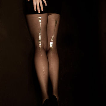 EXCLUSSIVE Hand Printed Tights -Charleston, Gold on Black, Flash Back Collection