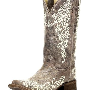 Corral New Women's A2663 Bone Embroidery Square Toe Western Boot