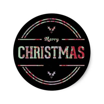 Merry Christmas Greeting Classic Round Sticker