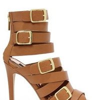 Arena Buckled Cage Heels - Tan