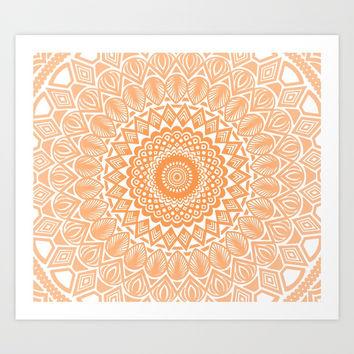 Orange Tangerine Mandala Detailed Textured Minimal Minimalistic Art Print by AEJ Design