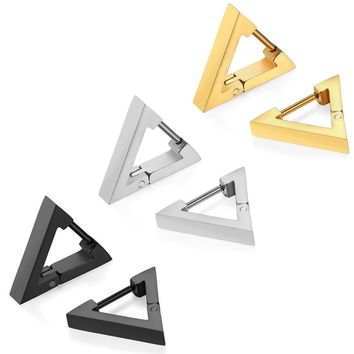 SHIPS FROM USA 2017 Brand Design New Fashion Men And Women Hoop Earrings Female Jewelry Triangle Stainless Steel Earrings