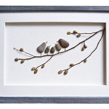 Christmas gift for family, Bird family wall art, Pebble art family of five gift, Anniversary or new home housewarming gift, Framed stone art