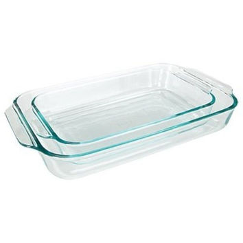 Pyrex Basics Clear Oblong Glass Baking Dishes 2 Piece Value Plus Pack Set