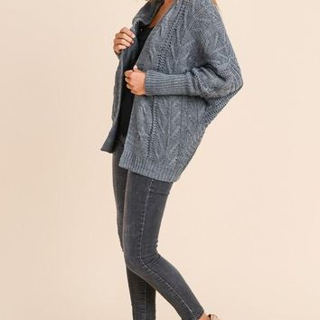 Dolman Sleeved Cardigan - Charcoal