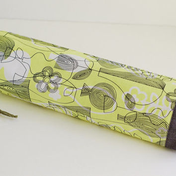 Fabric Plastic Bag Holder / Grocery Bag Holder / Black & White on Lime Yellow