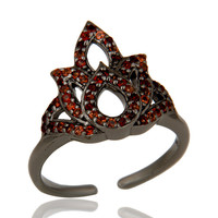 Garnet Black Oxidized Sterling Silver Crown Midi Ring