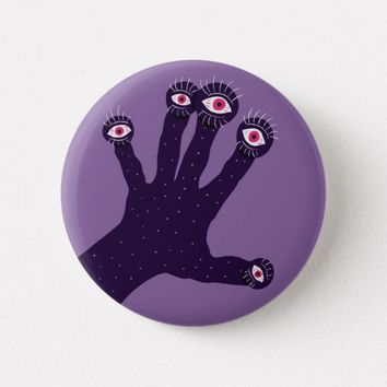 Creepy Hand Has Weird Fingers With Watching Eyes Button