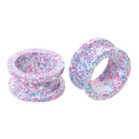 Steel Pink And Blue Splatter Spool Plug 2 Pack