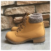 """""""Bucket List"""" Pepper Trim Tan Bootie Boots, Ankle Boots"""