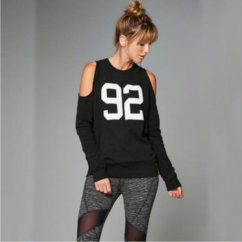 Black Letter Number Print Cold Shoulder Long Sleeve Sweatshirt