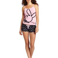 Playboy Women's Rabbit Head Screened Tank Top And Printed Playmate Short Set
