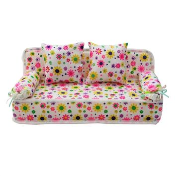 Lovely Miniature Furniture Flower Print Sofa Couch with 2 Cushions for Barbie Flower