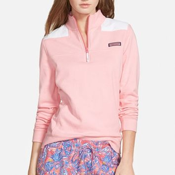 Women's Vineyard Vines 'Shep' Eyelet Quarter Zip Pullover,