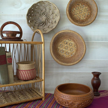 Small Woven Boho Baskets, Small Wicker Basket, Palm Frond Basket, Colorful Woven Baskets, Collections of Woven Baskets