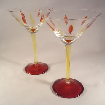 Long Stemmed Martini Glasses, Orange and Yellow Enameling S/2