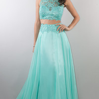 Two Piece Floor Length Lace Embellished Dress