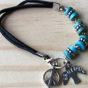 "Handstamped ""be u tiful "" suede bracelet / aqua beaded bracelet / peace sign jewelry / charm bracelet / boho chic / hippie / gypsey"