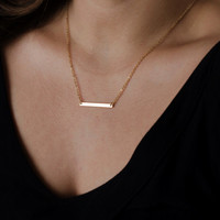 Gold Bar Necklace, Sideways Bar, Modern Minimalist Necklace, Victorias Secret, Bridesmaids Gifts
