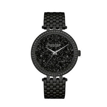 Ladies' Caravelle New York™ Crystal Accent Black IP Watch with Textured Black Dial (Model: 45L147) - Save on Select Styles - Zales
