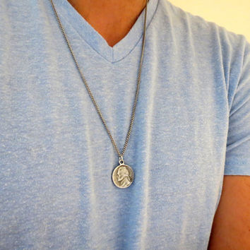 Men's Necklace - Blackend Silver Plated Antique Coin Pendant - Mens Jewelry - Antique Coin Jewelry - Gift For Him
