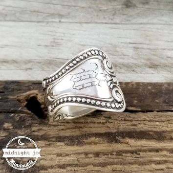 Antique M Monogram Sterling Silver Spoon Ring