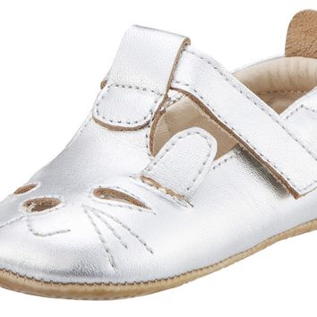 Old Soles Girl's 006 Cutesy Shoe Kitty Detail Silver Leather Mary Jane Flats