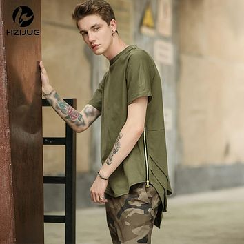"""""""HZIJUE"""" Japanese Street Couture Style Men's Extended T Shirt with Side Zippers"""